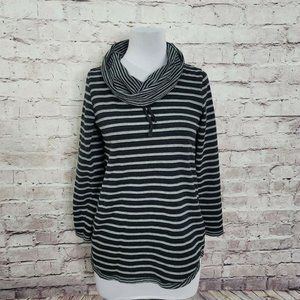 Soft Surroundings S Gray & Black Striped Pullover